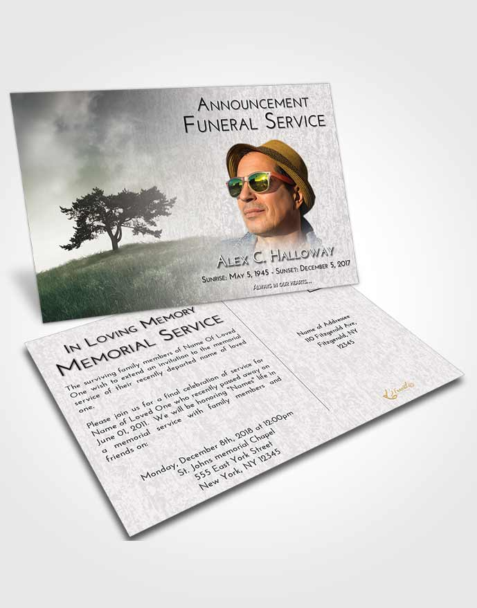 Funeral Announcement Card Template Evening Gentle Pasture