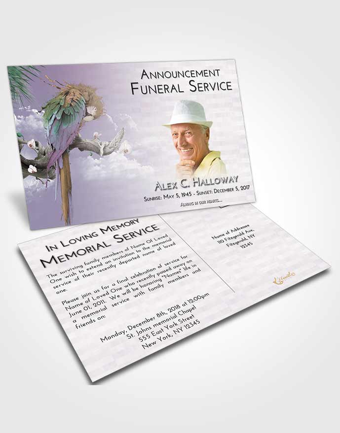 Funeral Announcement Card Template Evening Magical Parrot