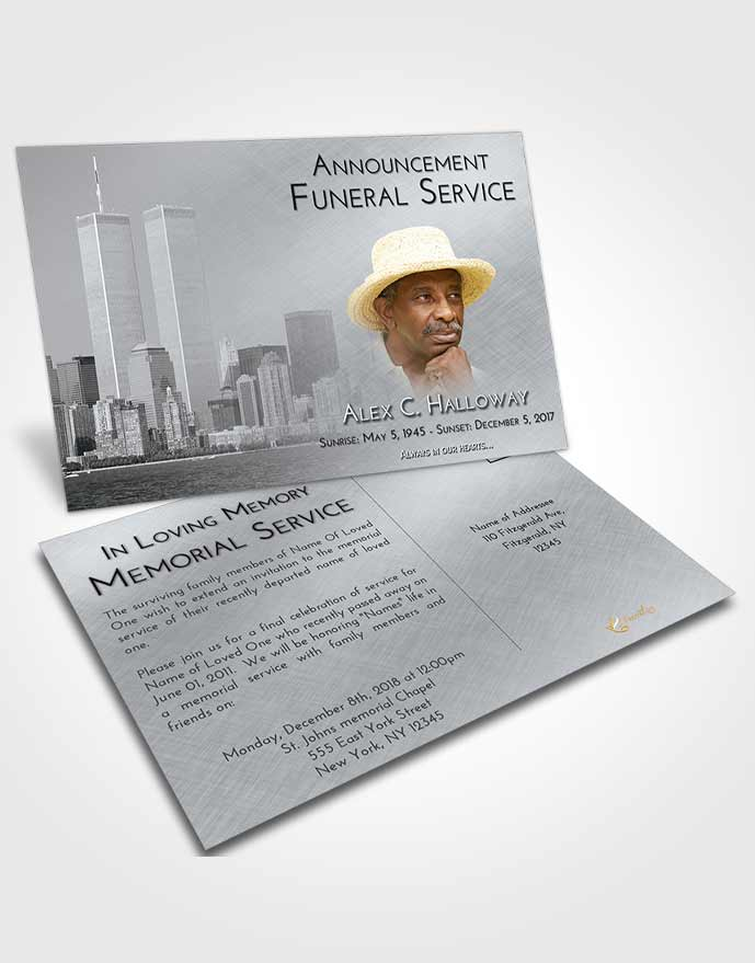 Funeral Announcement Card Template Freedom Cityscape