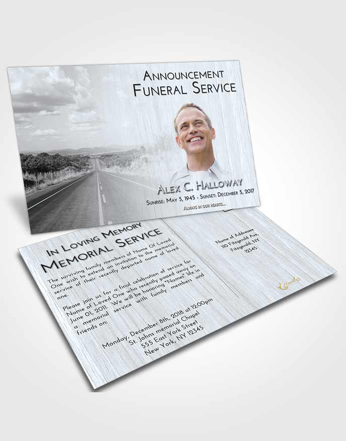 Funeral Announcement Card Template Freedom Highway Cruise