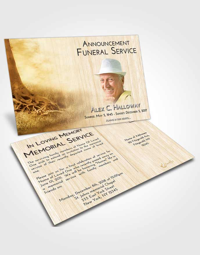 Funeral Announcement Card Template Golden Deep Roots
