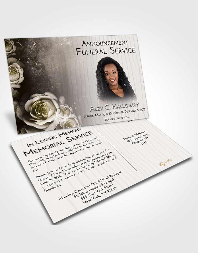 Funeral Announcement Card Template Harmony Flowering Garden