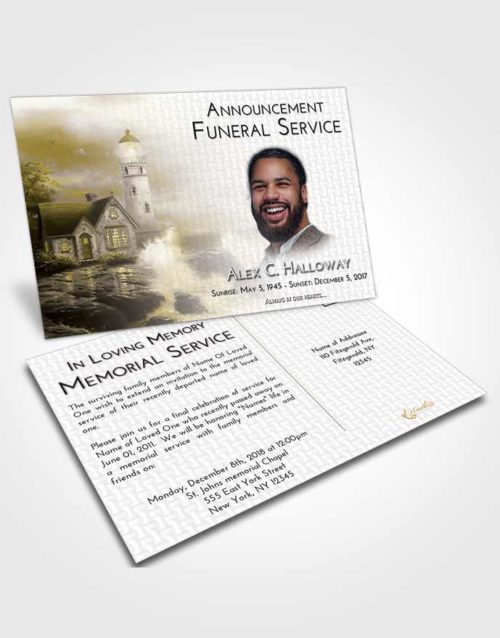 Funeral Announcement Card Template Harmony Lighthouse Lookout
