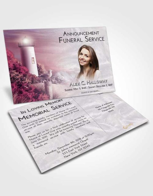 Funeral Announcement Card Template Lavender Sunrise Lighthouse Mystery
