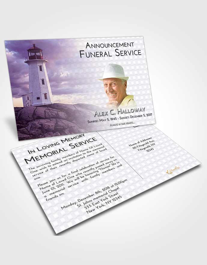 Funeral Announcement Card Template Lavender Sunrise Lighthouse Safety