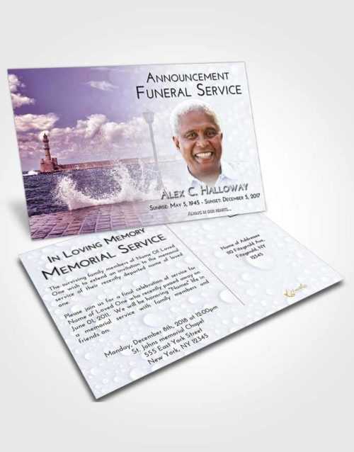 Funeral Announcement Card Template Lavender Sunrise Lighthouse in the Tides