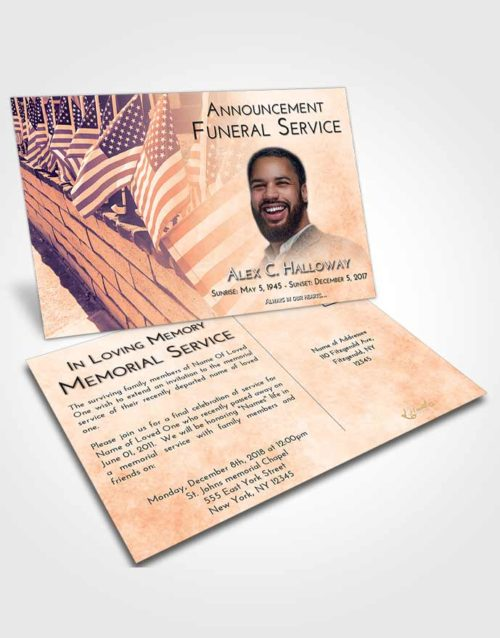 Funeral Announcement Card Template Lavender Sunset American Victory