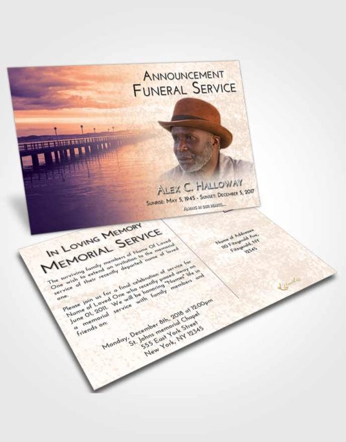 Funeral Announcement Card Template Lavender Sunset Lake Drive