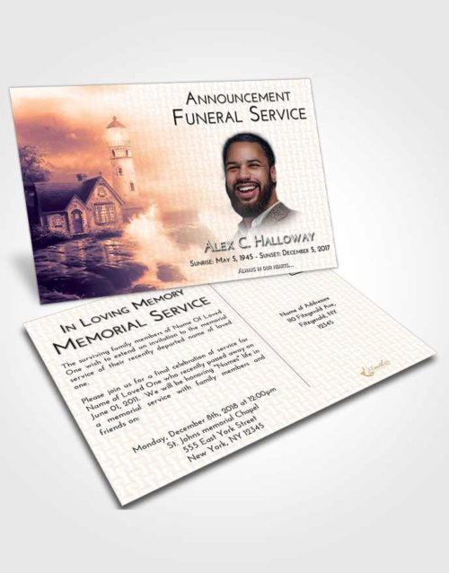 Funeral Announcement Card Template Lavender Sunset Lighthouse Lookout