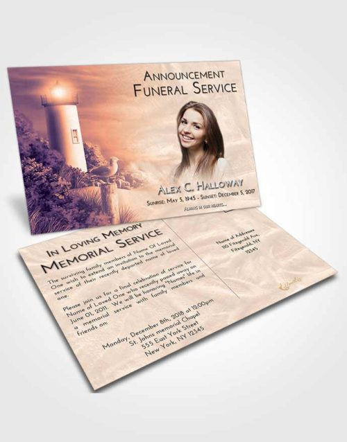 Funeral Announcement Card Template Lavender Sunset Lighthouse Mystery