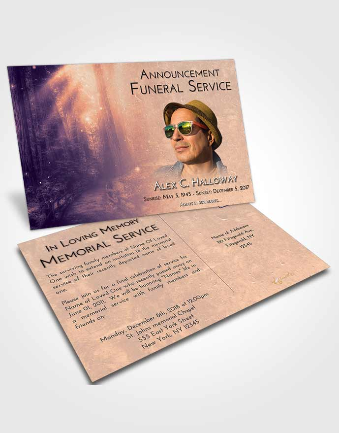 Funeral Announcement Card Template Lavender Sunset Magical Forest
