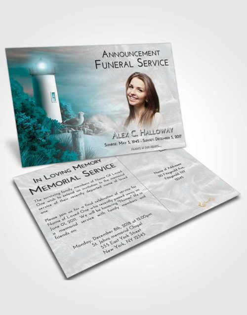 Funeral Announcement Card Template Loving Embrace Lighthouse Mystery