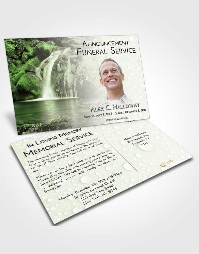 Funeral Announcement Card Template Loving Waterfall Paradise
