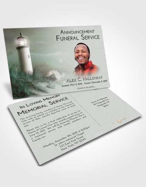Funeral Announcement Card Template Morning Lighthouse Serenity