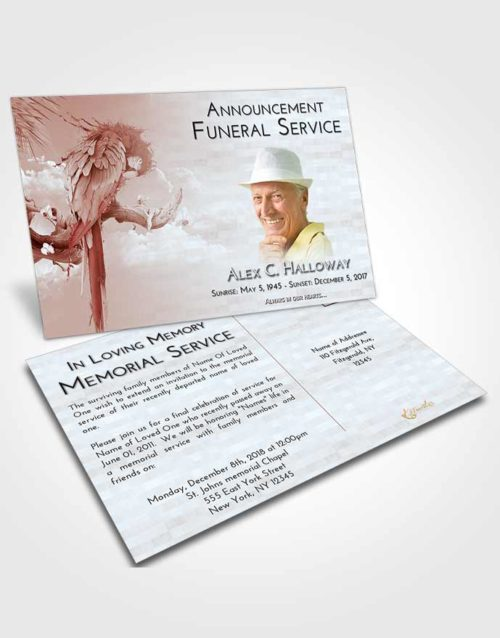 Funeral Announcement Card Template Ruby Love Magical Parrot