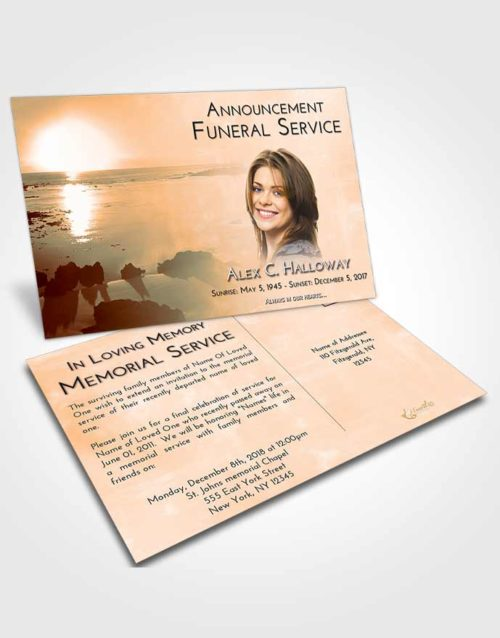 Funeral Announcement Card Template Soft Dusk Early Rise