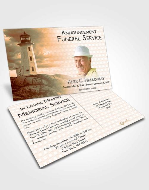 Funeral Announcement Card Template Soft Dusk Lighthouse Safety