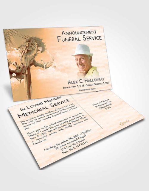 Funeral Announcement Card Template Soft Dusk Magical Parrot