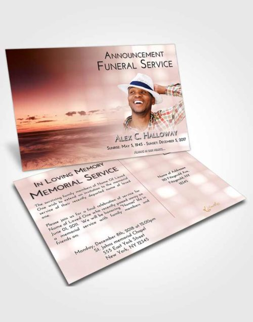 Funeral Announcement Card Template Strawberry Love Beautiful Sunset