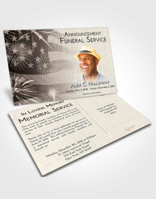 Funeral Announcement Card Template Tranquil American Patriot