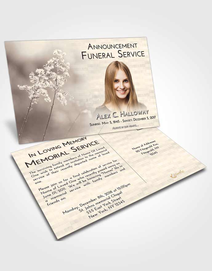 Funeral Announcement Card Template Tranquil Colorful Spring