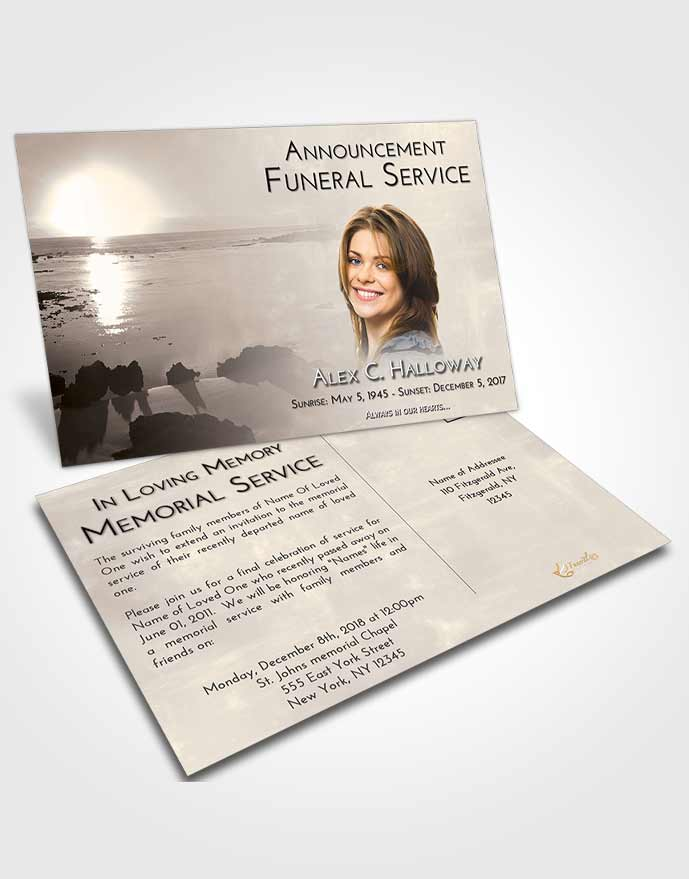 Funeral Announcement Card Template Tranquil Early Rise