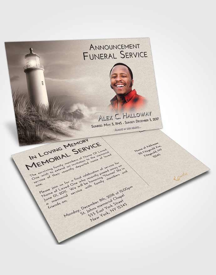 Funeral Announcement Card Template Tranquil Lighthouse Serenity