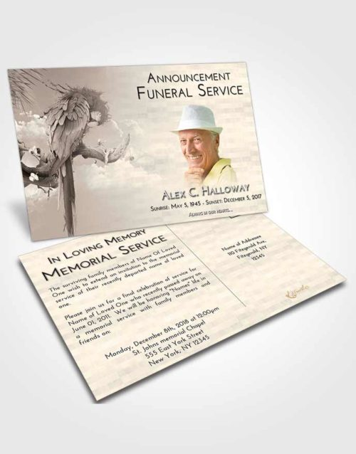Funeral Announcement Card Template Tranquil Magical Parrot