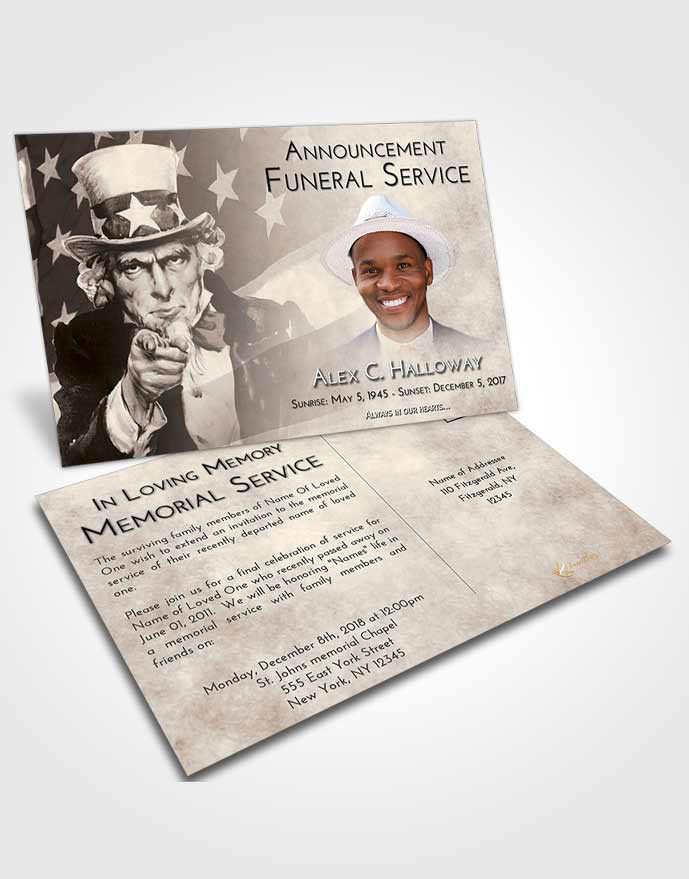 Funeral Announcement Card Template Tranquil Uncle Sam