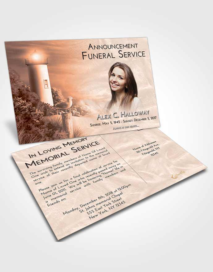 Funeral Announcement Card Template Vintage Love Lighthouse Mystery