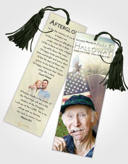 Funeral Bookmark Template At Dusk American Smile