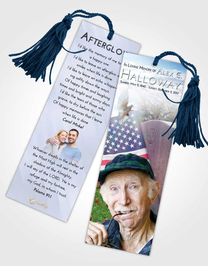 Funeral Bookmark Template Early American Smile