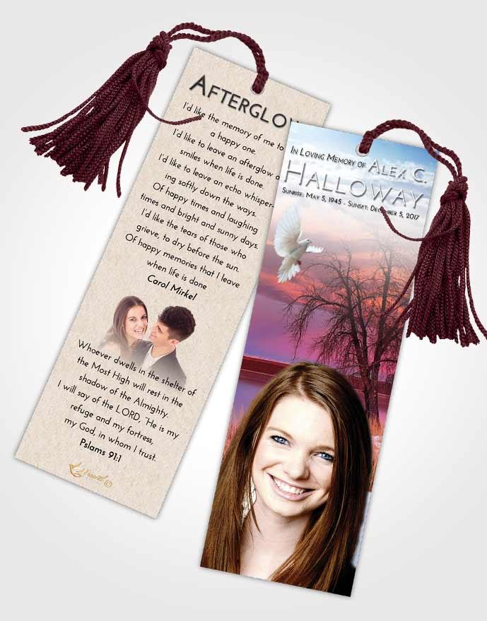 Funeral Bookmark Template Early Lovely Lake