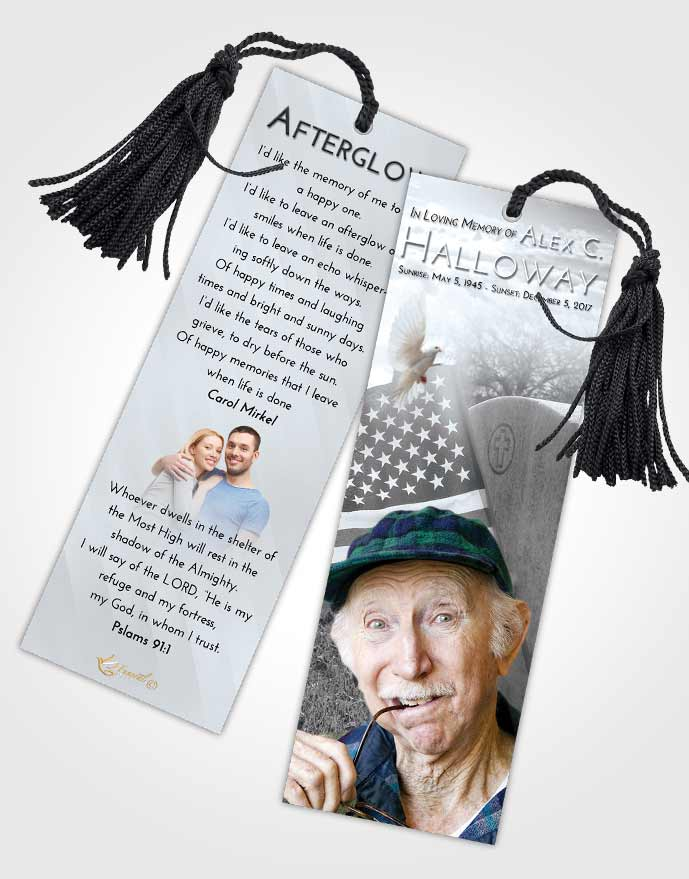 Funeral Bookmark Template Freedom American Smile