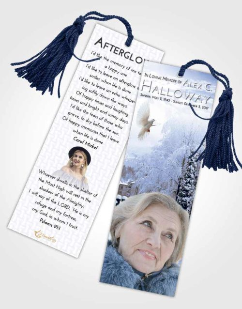 Funeral Bookmark Template Splendid Snow Garden