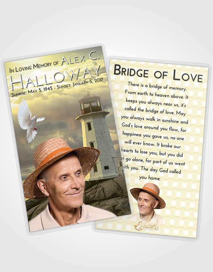 Funeral Prayer Card Template At Dusk Lighthouse Safety