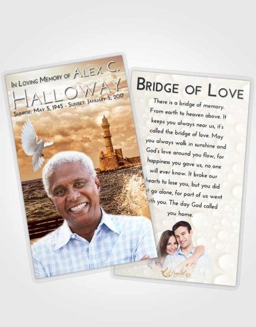 Funeral Prayer Card Template Golden Lighthouse in the Tides