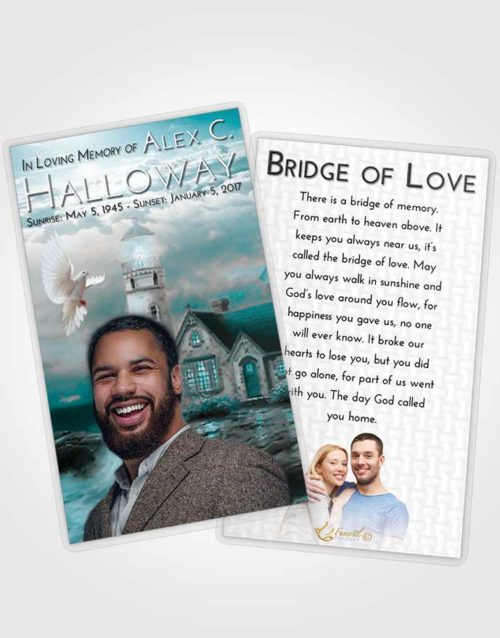 Funeral Prayer Card Template Loving Embrace Lighthouse Lookout