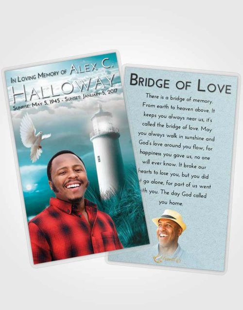 Funeral Prayer Card Template Loving Embrace Lighthouse Serenity