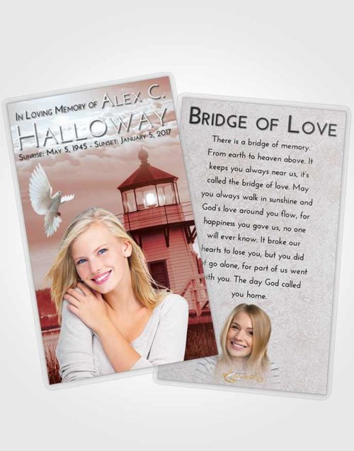 Funeral Prayer Card Template Ruby Love Lighthouse Surprise