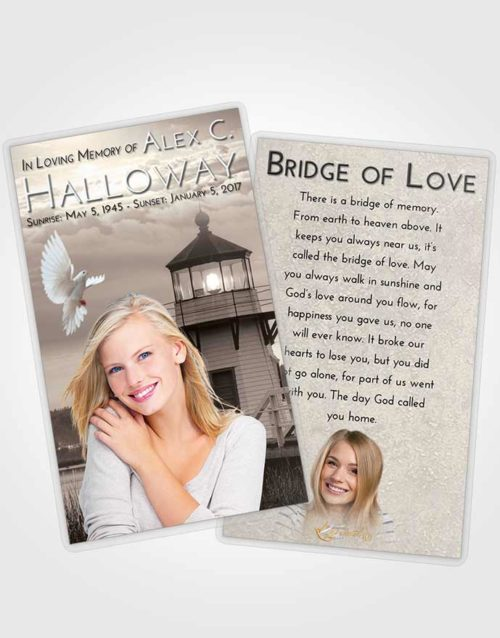 Funeral Prayer Card Template Tranquil Lighthouse Surprise
