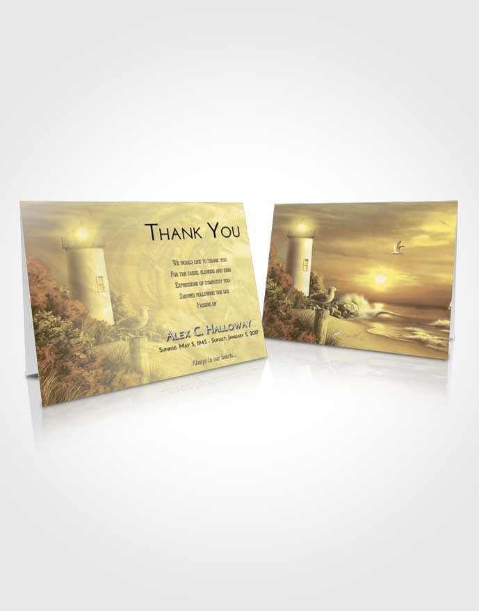 Funeral Thank You Card Template At Dusk Lighthouse Mystery