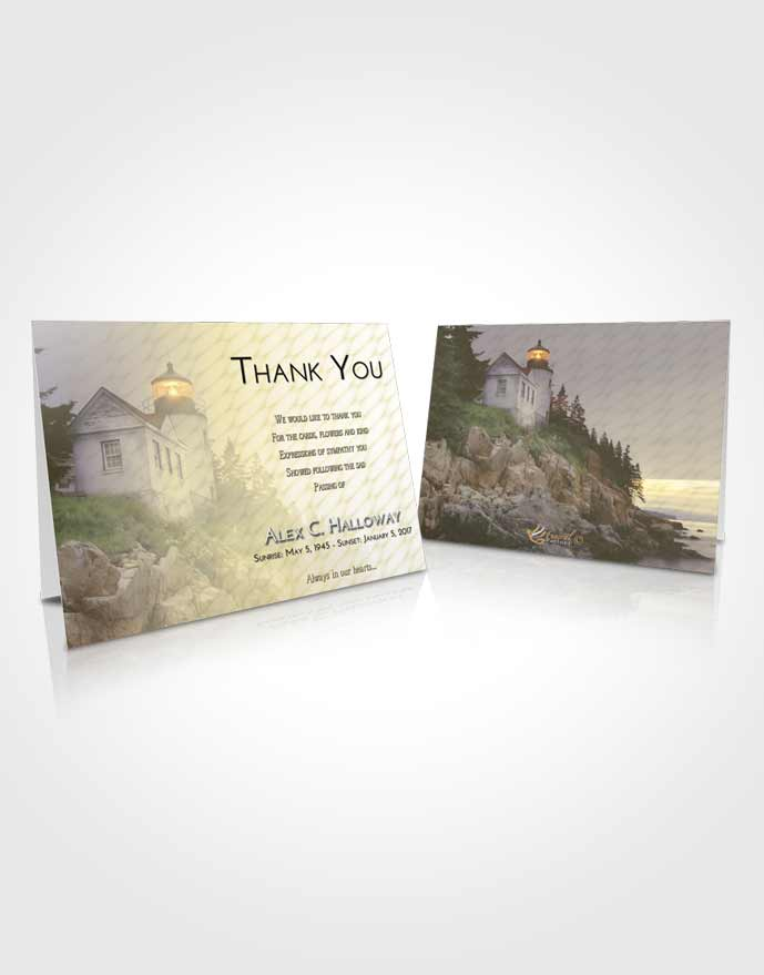 Funeral Thank You Card Template At Dusk Lighthouse on the Rocks