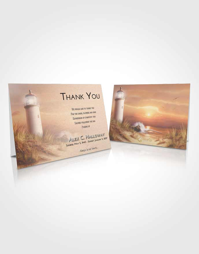 Funeral Thank You Card Template Early Lighthouse Serenity