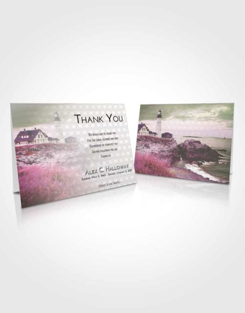 Funeral Thank You Card Template Emerald Sunrise Lighthouse Secret