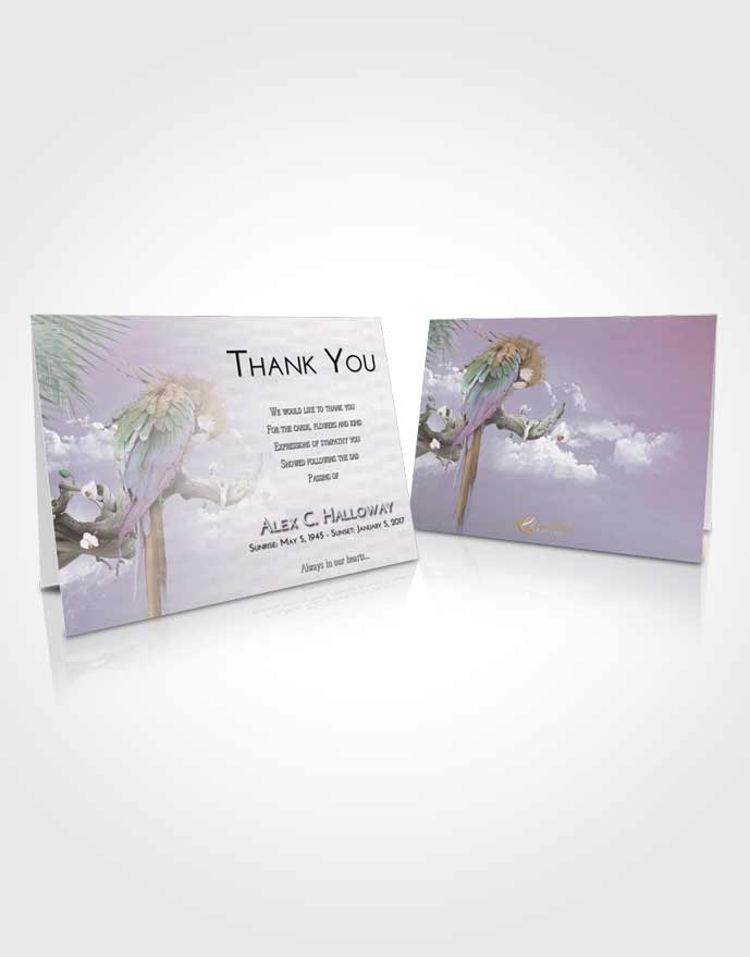 Funeral Thank You Card Template Evening Magical Parrot