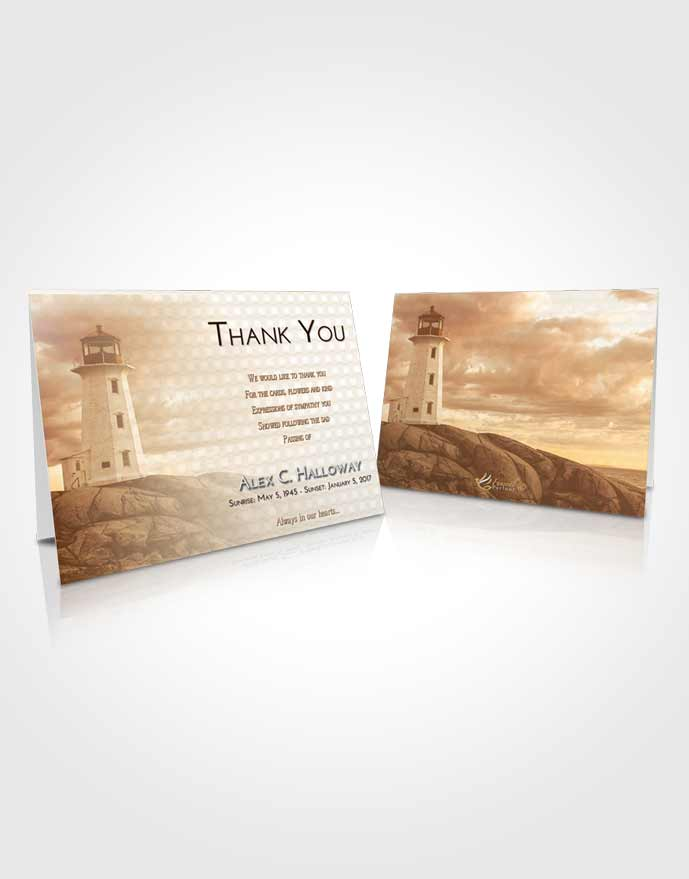 Funeral Thank You Card Template Golden Lighthouse Safety