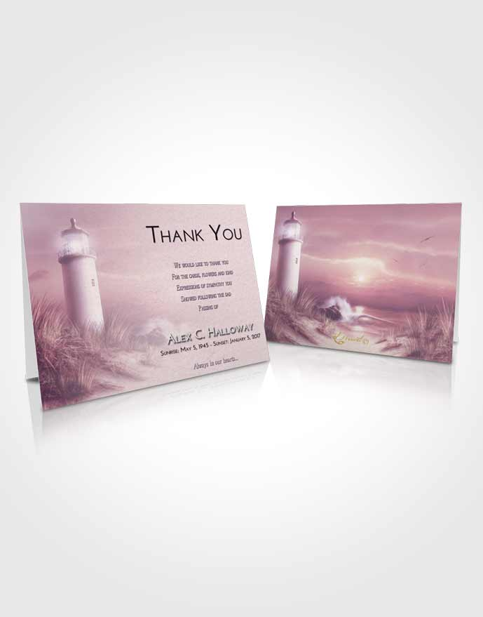 Funeral Thank You Card Template Lavender Sunrise Lighthouse Serenity