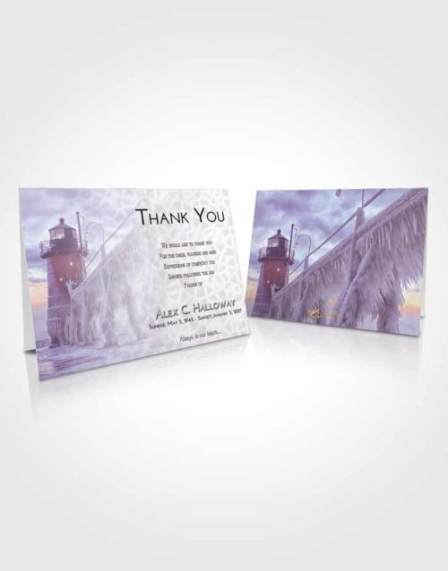 Funeral Thank You Card Template Lavender Sunrise Lighthouse Tranquility
