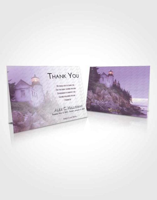 Funeral Thank You Card Template Lavender Sunrise Lighthouse on the Rocks